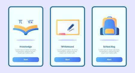 Knowledge whiteboard schoolbag for mobile apps template banner page UI with three variations modern flat color style Illustration