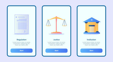 Regulation justice institution for mobile apps template banner page UI with three variations modern flat color style