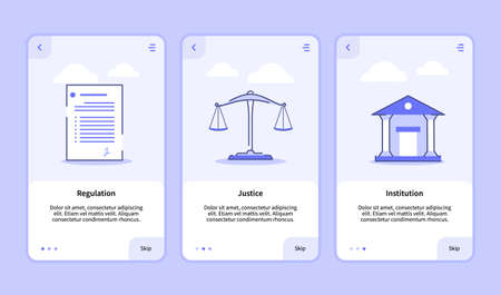 Regulation justice institution onboarding screen for mobile apps template banner page UI with three variations modern flat outline style