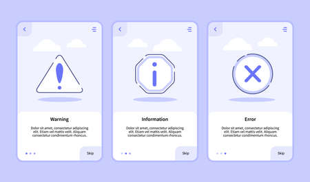 Warning information error onboarding screen for mobile apps template banner page UI with three variations modern flat outline style.