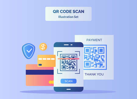 QR code scan illustration set barcode on display smartphone screen for payment background of credit card dollar shield with flat color style