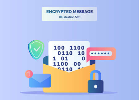 Encrypted message illustration set text number in message background of password shield email notification padlock with flat color style