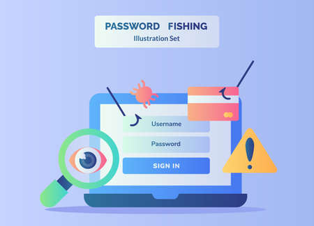 Password fishing illustration set on display laptop screen background of credit card warning sign magnifying eye with flat style.