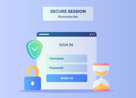 Secure session illustration set display ui on computer screen for sign in user name password background of shield padlock hourglass with flat color style