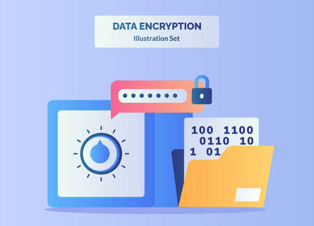 Data encryption illustration set input password to unlock vault bank background of number in file folder with flat color style.