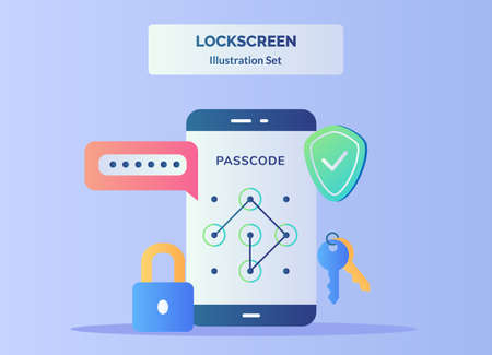 Lock screen illustration set input passcode in display smartphone screen background of password shield padlock key with flat color style.
