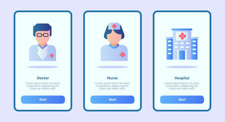 Medical icon doctor nurse hospital for mobile apps template banner page UI with three variations modern flat color style Illusztráció