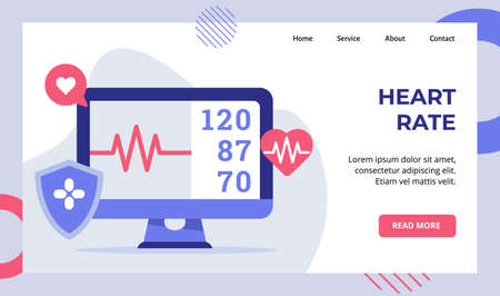 Heart rate beat monitor electrocardiogram campaign for web website home homepage landing page template banner with modern flat style Ilustração