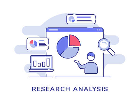 Research analysis concept man presentation data statistic pie chart on display computer screen with flat outline style Vecteurs