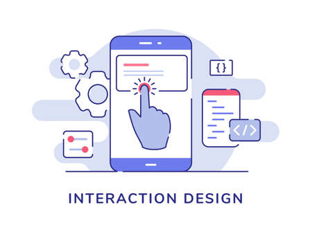 Interaction design concept finger touch button on smartphone screen with flat outline style Illusztráció