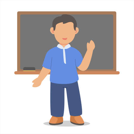 Children boy character student confidence stand in front blackboard white isolated background with flat color style Ilustração