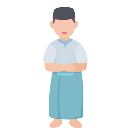 Muslim boy character islamic wear sarong praying sholat white isolated background with flat color style Ilustração