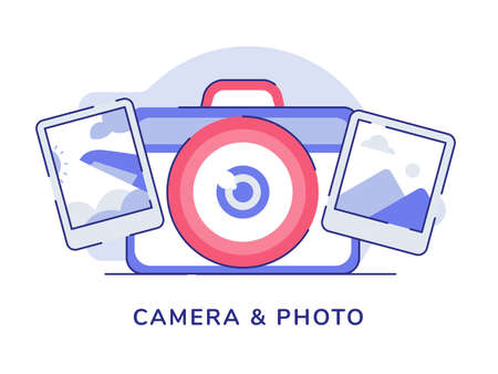 Camera and photo photography picture with flat outline style Stock Illustratie