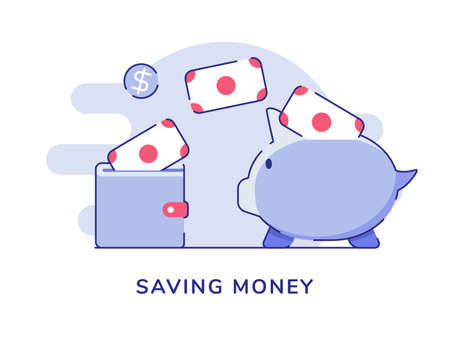 Saving money currency put in wallet piggy bank white isolated background with flat outline style