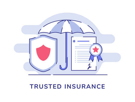 Trusted insurance concept umbrella shield certificate policy white isolated background with flat outline style