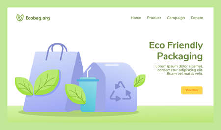 Eco friendly packaging shopping bag cup drink food box packaging recycle campaign for web website home homepage template banner landing page with flat style