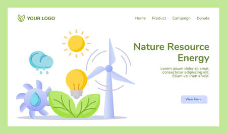 Nature resource energy hydro wind sun solar leaf bio power energy campaign for web website home homepage landing page template banner with flat style