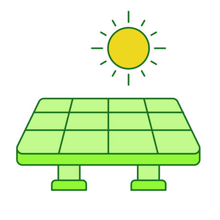 Solar power concept solar cell panel sun white isolated background with green theme flat outline style
