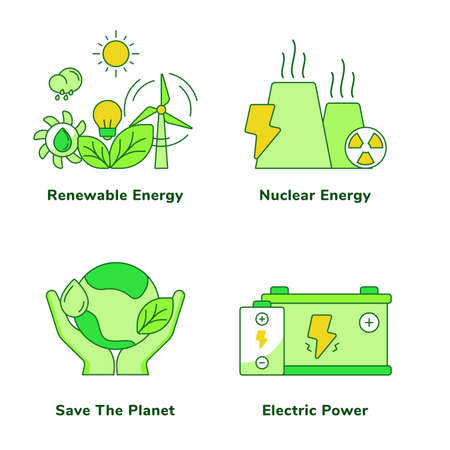 Ecology set collection renewable energy nuclear energy save the planet electric power white isolated background with green theme flat outline style