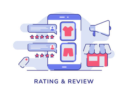 Rating and review concept feedback rank star comment clothes on display smartphone screen megaphone market store white isolated background with flat outline style