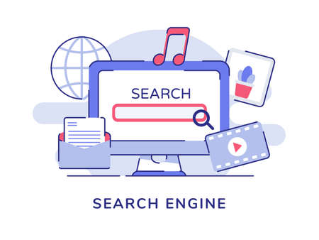 Search engine concept ui magnifier on display computer screen video music picture white isolated background with flat outline style