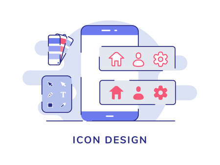 Icon design concept home setting tool on smartphone screen white isolated background with flat outline style