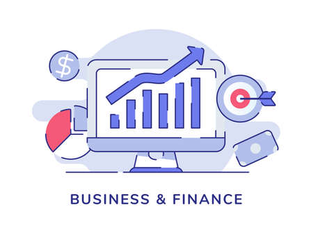 Business finance concept growth bar chart on display computer screen white isolated background with flat outline style