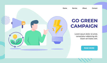 Go green campaign men presentation green energy leaf bulb lamp lightning megaphone campaign for web website home homepage landing page template banner with flat style Ilustrace