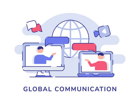 Global communication concept people interaction discussion talk on display computer laptop screen white isolated background with flat style