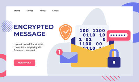 Encryption message password email number notification padlock shield campaign for web website home homepage landing page template banner white isolated background with flat style