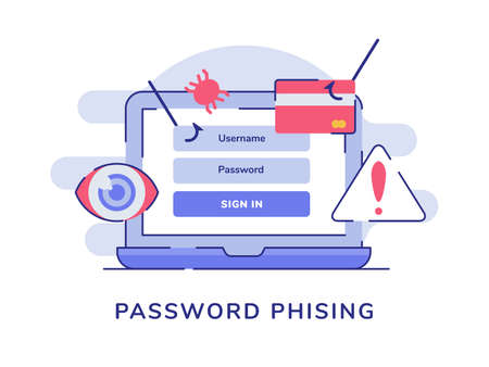 Password phising on display laptop screen white isolated background with flat style