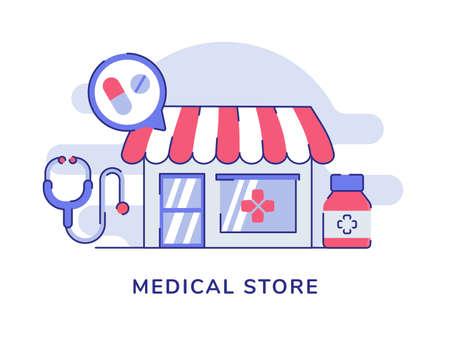 Medical store facade drug stethoscope white isolated background with flat style Vektorové ilustrace