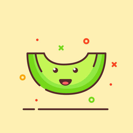 Melon cute mascot face emotion happy fruit with color flat cartoon outline style Vettoriali