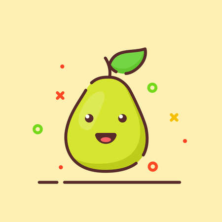 Pear cute mascot face emotion happy fruit with color flat cartoon outline style 向量圖像
