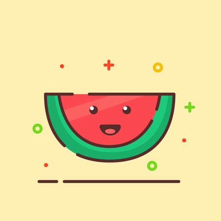 Water melon cute mascot face emotion happy fruit with color flat cartoon outline style