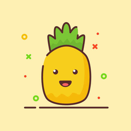Pineapple cute mascot face emotion happy fruit with color flat cartoon outline style Ilustracja