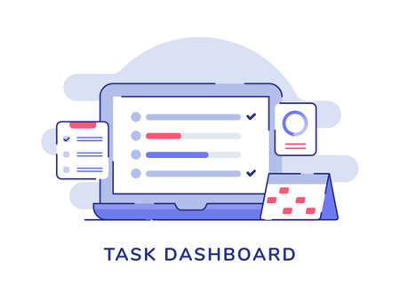 Task dashboard concept check list on display laptop monitor calendar clipboard white isolated background with flat color outline style
