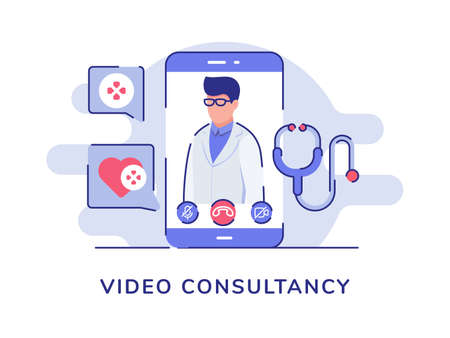 Video consultancy concept men doctor profile on display smartphone screen stethoscope heart white isolated background with flat color outline style Vetores