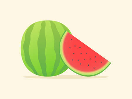 Water melon fruit fresh slice juicy vitamin nutrition fiber white isolated background with flat color style