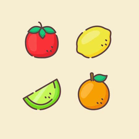 Fruit icons set collection tomato lemon melon orange juicy organic fresh with color flat cartoon outline style