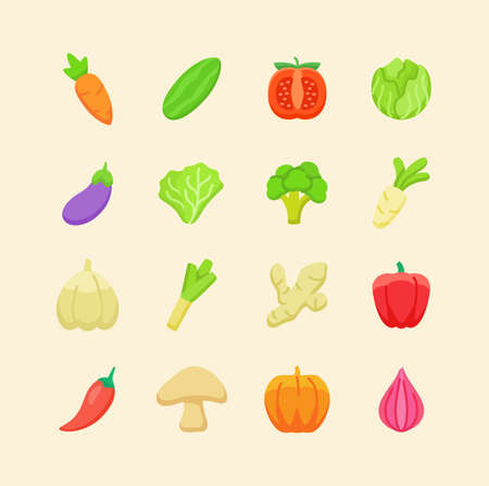 Vegetable icon set collection package organic fresh flavor tasty healthy white isolated background with cartoon color flat style