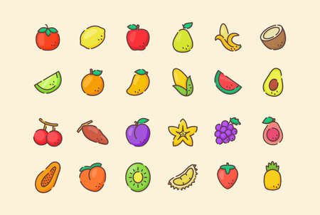 Fruit icon set collection package tropical organic fresh juicy healthy white isolated background with cartoon color flat outline style