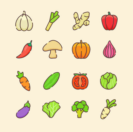 Vegetable icon set collection package organic fresh flavor tasty healthy white isolated background with cartoon color flat outline style