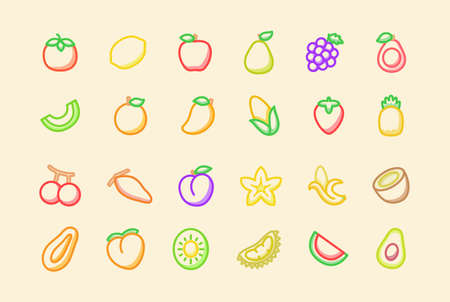 Fruit icon set collection package tropical organic fresh juicy healthy white