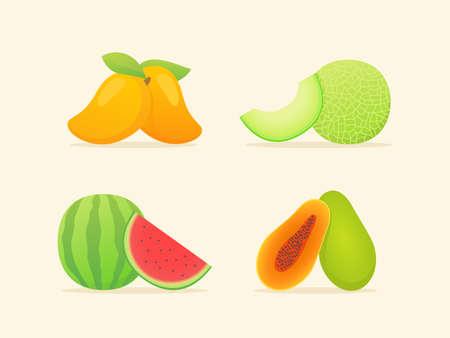 Fruit set collection mango melon water melon papaya slice whole fresh juicy vitamin