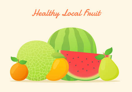 Healthy local fruit set collection melon water melon orange mango pear fresh juicy vitamin nutrition fiber white isolated background with flat color style