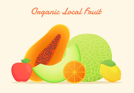 Organic local fruit set collection melon papaya apple orange lemon fresh juicy vitamin nutrition fiber white isolated background with flat color style