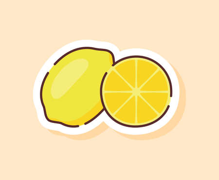 Lemon sticker fruity healthy fresh food with color flat cartoon outline style  イラスト・ベクター素材