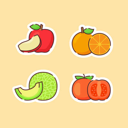 Fruit icons set collection apple orange melon tomato natural healthy fresh food with color flat cartoon outline style