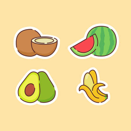 Fruit icons set collection banana avocado coconut water melon natural healthy fresh food with color flat cartoon outline style Vettoriali